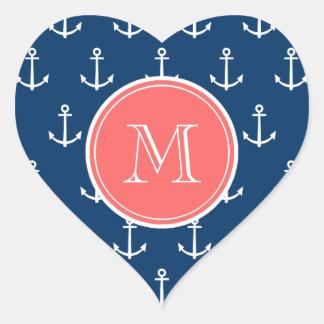 Navy Blue White Anchors Pattern, Coral Monogram Heart Sticker
