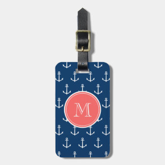 Navy Blue White Anchors Pattern, Coral Monogram Tag For Luggage