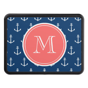 Navy Blue White Anchors Pattern, Coral Monogram Tow Hitch Cover