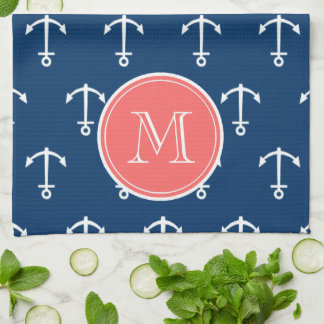 Navy Blue White Anchors Pattern, Coral Monogram Towels