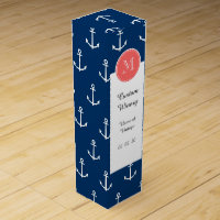 Navy Blue White Anchors Pattern, Coral Monogram Wine Box