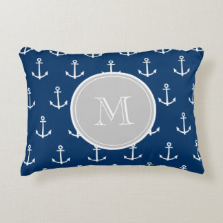 Navy Blue White Anchors Pattern, Gray Monogram Accent Pillow