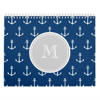 Navy Blue White Anchors Pattern, Gray Monogram Wall Calendars