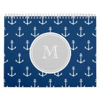 Navy Blue White Anchors Pattern, Gray Monogram Calendar