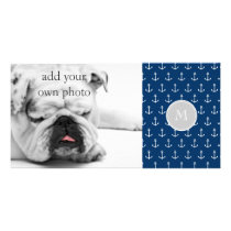 Navy Blue White Anchors Pattern, Gray Monogram Card