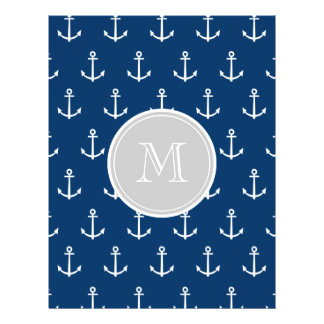 Navy Blue White Anchors Pattern, Gray Monogram Personalized Flyer