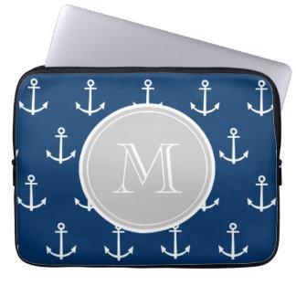Navy Blue White Anchors Pattern, Gray Monogram Laptop Sleeve