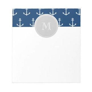 Navy Blue White Anchors Pattern, Gray Monogram Notepad