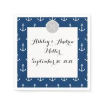 Navy Blue White Anchors Pattern, Gray Monogram Paper Napkin