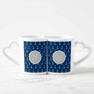 Navy Blue White Anchors Pattern, Gray Monogram Couples Mug