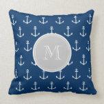 Navy Blue White Anchors Pattern, Gray Monogram Pillows