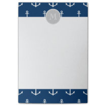 Navy Blue White Anchors Pattern, Gray Monogram Post-it Notes