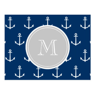 Navy Blue White Anchors Pattern, Gray Monogram Postcard