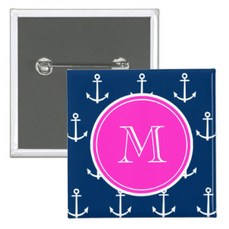 Navy Blue White Anchors Pattern, Hot Pink Monogram 2 Inch Square Button
