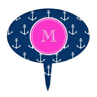 Navy Blue White Anchors Pattern, Hot Pink Monogram Cake Topper