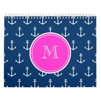 Navy Blue White Anchors Pattern, Hot Pink Monogram Calendars