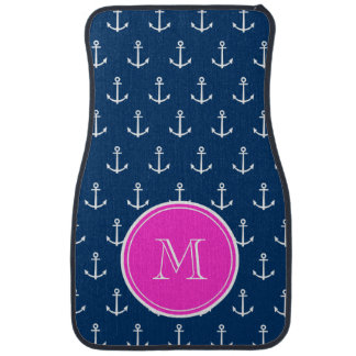 Navy Blue White Anchors Pattern, Hot Pink Monogram Car Mat