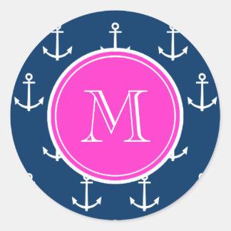 Navy Blue White Anchors Pattern, Hot Pink Monogram Classic Round Sticker