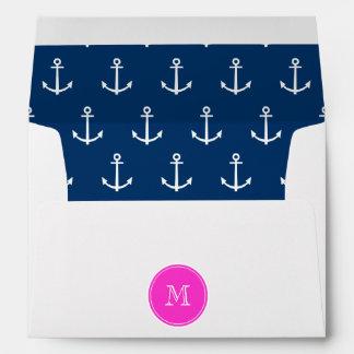 Navy Blue White Anchors Pattern Hot Pink Monogram Envelopes