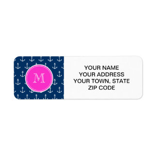 Navy Blue White Anchors Pattern, Hot Pink Monogram Label