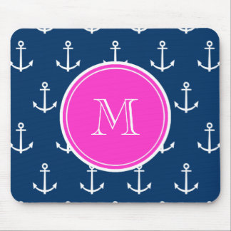 Navy Blue White Anchors Pattern, Hot Pink Monogram Mouse Pads