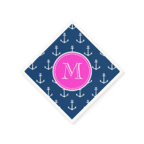 Navy Blue White Anchors Pattern, Hot Pink Monogram Napkin