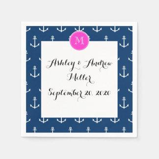 Navy Blue White Anchors Pattern, Hot Pink Monogram Paper Napkins