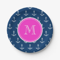 Navy Blue White Anchors Pattern, Hot Pink Monogram Paper Plate