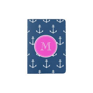 Navy Blue White Anchors Pattern, Hot Pink Monogram Passport Holder