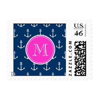 Navy Blue White Anchors Pattern Hot Pink Monogram Postage Stamp
