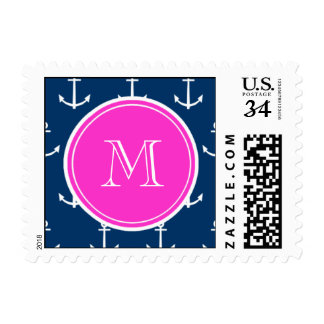 Navy Blue White Anchors Pattern, Hot Pink Monogram Postage Stamp