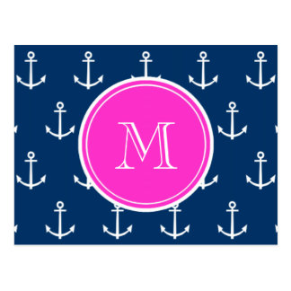 Navy Blue White Anchors Pattern, Hot Pink Monogram Postcard