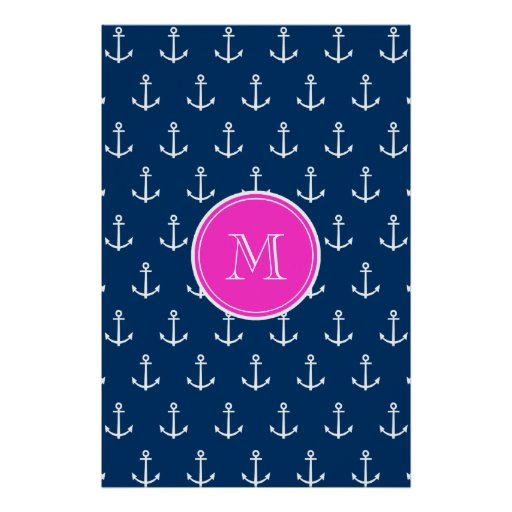 Navy Blue White Anchors Pattern, Hot Pink Monogram Poster