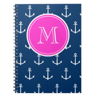 Navy Blue White Anchors Pattern, Hot Pink Monogram Spiral Notebook
