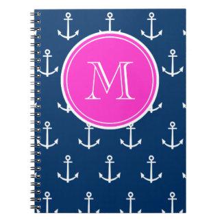 Navy Blue White Anchors Pattern, Hot Pink Monogram Spiral Notebook