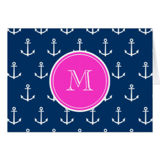 Navy Blue White Anchors Pattern, Hot Pink Monogram Stationery Note Card