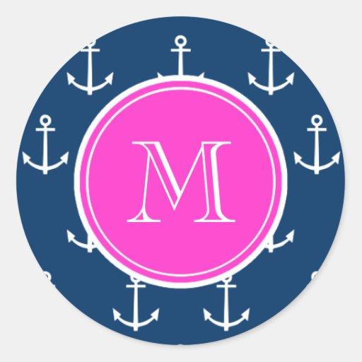 Navy Blue White Anchors Pattern, Hot Pink Monogram Round Sticker