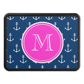 Navy Blue White Anchors Pattern, Hot Pink Monogram Tow Hitch Cover
