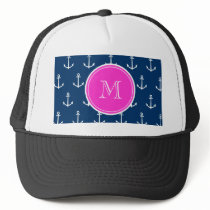 Navy Blue White Anchors Pattern, Hot Pink Monogram Trucker Hat
