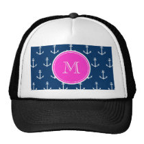 Navy Blue White Anchors Pattern, Hot Pink Monogram Trucker Hat