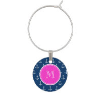 Navy Blue White Anchors Pattern, Hot Pink Monogram Wine Glass Charm