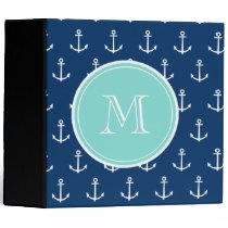 Navy Blue White Anchors Pattern, Mint Green Monogr 3 Ring Binder