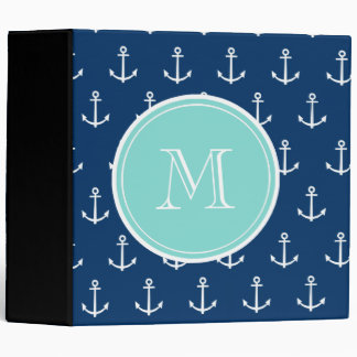 Navy Blue White Anchors Pattern, Mint Green Monogr 3 Ring Binder