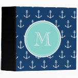 Navy Blue White Anchors Pattern, Mint Green Monogr Vinyl Binders