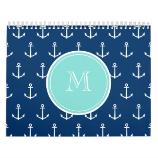 Navy Blue White Anchors Pattern, Mint Green Monogr Wall Calendars
