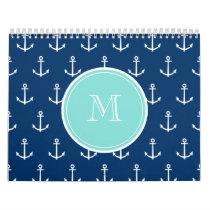 Navy Blue White Anchors Pattern, Mint Green Monogr Calendar