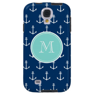 Navy Blue White Anchors Pattern, Mint Green Monogr Galaxy S4 Case