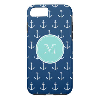 Navy Blue White Anchors Pattern, Mint Green Monogr iPhone 8/7 Case