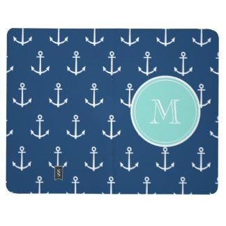 Navy Blue White Anchors Pattern, Mint Green Monogr Journal