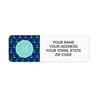 Navy Blue White Anchors Pattern, Mint Green Monogr Label